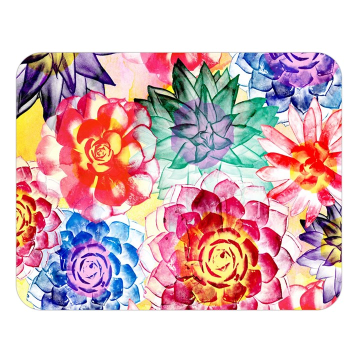 Colorful Succulents Double Sided Flano Blanket (Large)