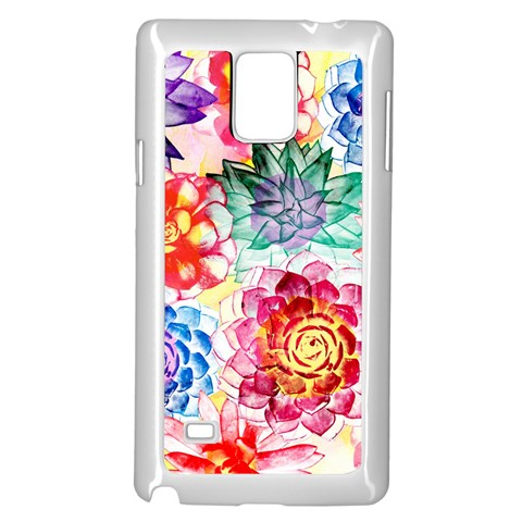 Colorful Succulents Samsung Galaxy Note 4 Case (White)