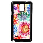 Colorful Succulents Samsung Galaxy Note 4 Case (Black) Front
