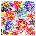 Colorful Succulents Large Satin Scarf (Square) Front