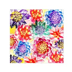 Colorful Succulents Small Satin Scarf (square)