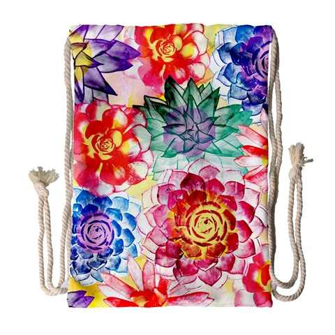 Colorful Succulents Drawstring Bag (Large)