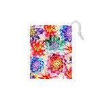 Colorful Succulents Drawstring Pouches (XS)  Front