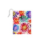 Colorful Succulents Drawstring Pouches (XS)  Back