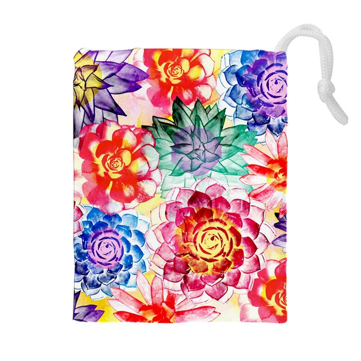 Colorful Succulents Drawstring Pouches (Extra Large)