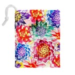 Colorful Succulents Drawstring Pouches (Extra Large) Back