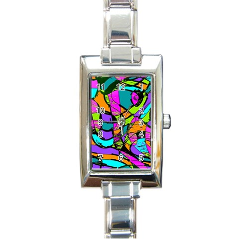Abstract Sketch Art Squiggly Loops Multicolored Rectangle Italian Charm Watch