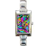 Abstract Sketch Art Squiggly Loops Multicolored Rectangle Italian Charm Watch Front