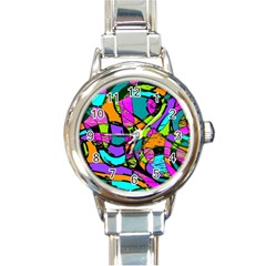 Abstract Sketch Art Squiggly Loops Multicolored Round Italian Charm Watch