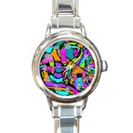 Abstract Sketch Art Squiggly Loops Multicolored Round Italian Charm Watch Front