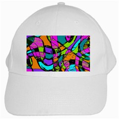 Abstract Sketch Art Squiggly Loops Multicolored White Cap