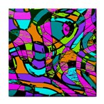 Abstract Sketch Art Squiggly Loops Multicolored Tile Coasters Front