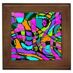 Abstract Sketch Art Squiggly Loops Multicolored Framed Tiles Front