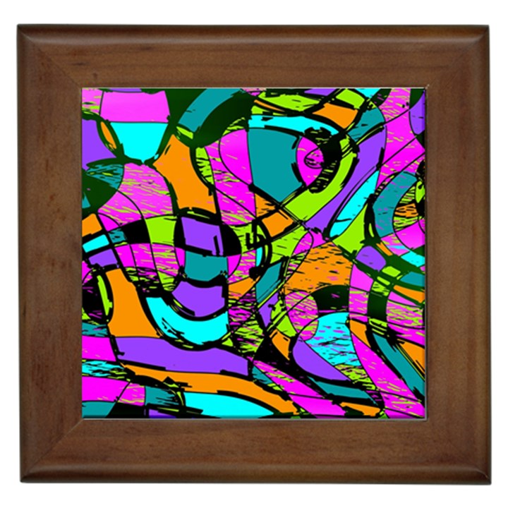 Abstract Sketch Art Squiggly Loops Multicolored Framed Tiles