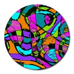Abstract Sketch Art Squiggly Loops Multicolored Round Mousepads Front