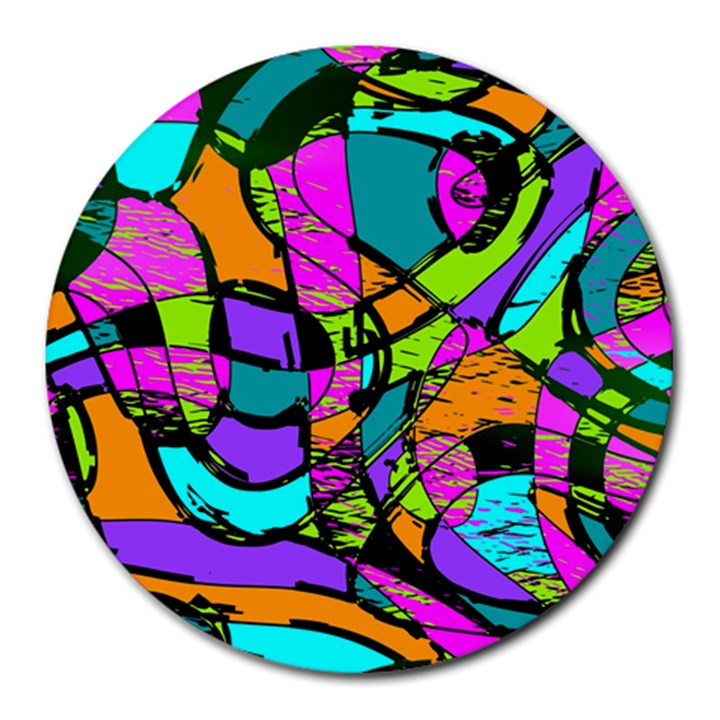 Abstract Sketch Art Squiggly Loops Multicolored Round Mousepads