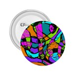 Abstract Sketch Art Squiggly Loops Multicolored 2.25  Buttons Front