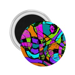 Abstract Sketch Art Squiggly Loops Multicolored 2.25  Magnets