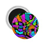 Abstract Sketch Art Squiggly Loops Multicolored 2.25  Magnets Front