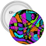 Abstract Sketch Art Squiggly Loops Multicolored 3  Buttons Front