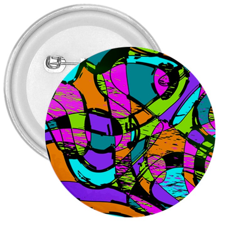 Abstract Sketch Art Squiggly Loops Multicolored 3  Buttons