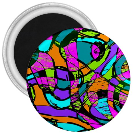 Abstract Sketch Art Squiggly Loops Multicolored 3  Magnets