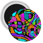 Abstract Sketch Art Squiggly Loops Multicolored 3  Magnets Front