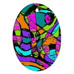 Abstract Sketch Art Squiggly Loops Multicolored Ornament (Oval)  Front