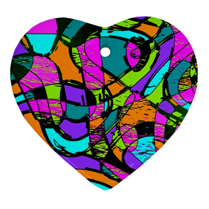 Abstract Sketch Art Squiggly Loops Multicolored Ornament (Heart)