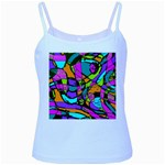 Abstract Sketch Art Squiggly Loops Multicolored Baby Blue Spaghetti Tank Front