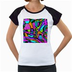 Abstract Sketch Art Squiggly Loops Multicolored Women s Cap Sleeve T Front