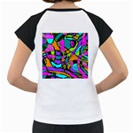 Abstract Sketch Art Squiggly Loops Multicolored Women s Cap Sleeve T Back