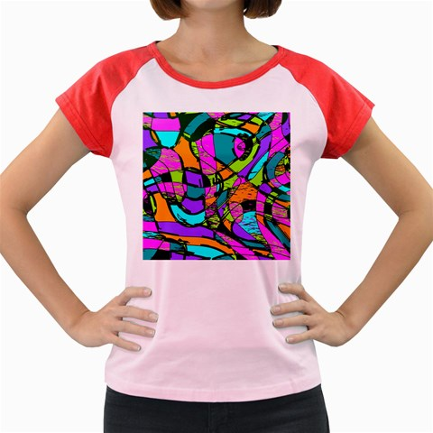 Abstract Sketch Art Squiggly Loops Multicolored Women s Cap Sleeve T-Shirt
