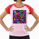 Abstract Sketch Art Squiggly Loops Multicolored Women s Cap Sleeve T-Shirt Front
