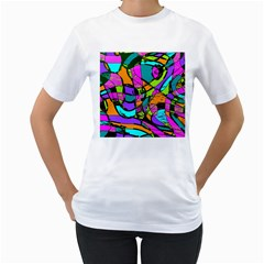 Abstract Sketch Art Squiggly Loops Multicolored Women s T Shirt (white) (two Sided)
