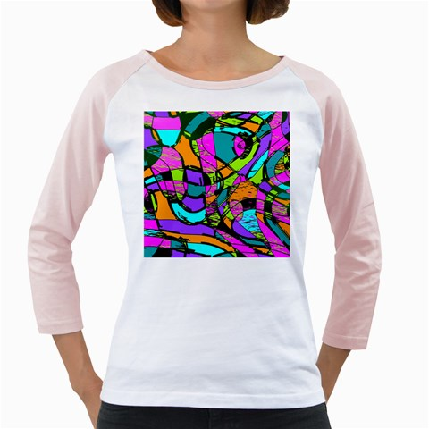 Abstract Sketch Art Squiggly Loops Multicolored Girly Raglans
