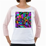 Abstract Sketch Art Squiggly Loops Multicolored Girly Raglans Front