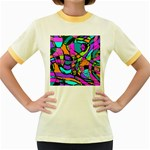 Abstract Sketch Art Squiggly Loops Multicolored Women s Fitted Ringer T-Shirts Front