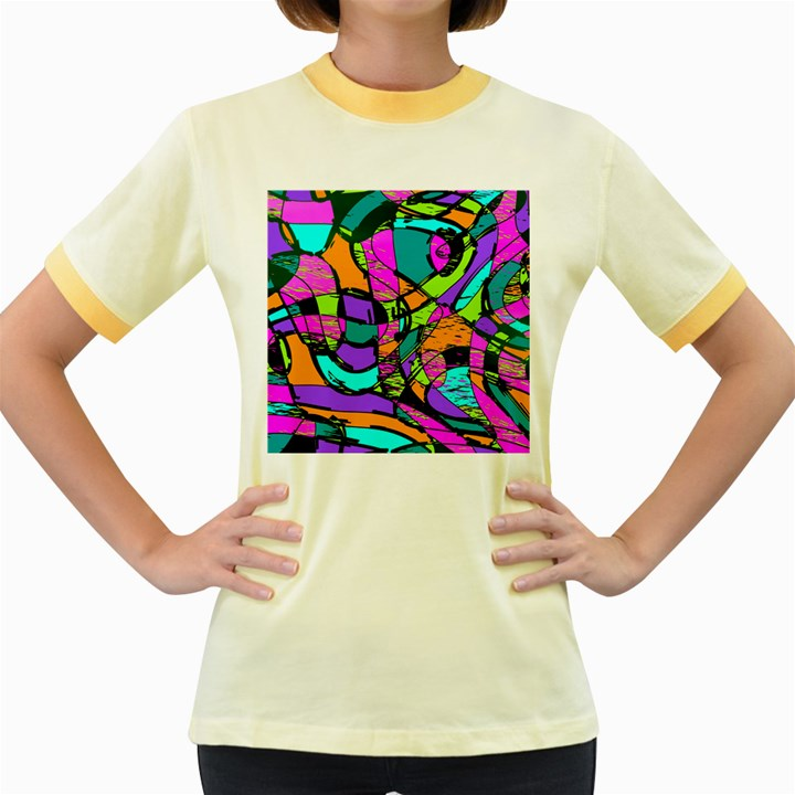 Abstract Sketch Art Squiggly Loops Multicolored Women s Fitted Ringer T-Shirts