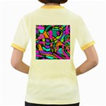 Abstract Sketch Art Squiggly Loops Multicolored Women s Fitted Ringer T-Shirts Back