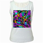Abstract Sketch Art Squiggly Loops Multicolored Women s White Tank Top Front