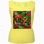Abstract Sketch Art Squiggly Loops Multicolored Women s Yellow Tank Top Front