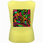Abstract Sketch Art Squiggly Loops Multicolored Women s Yellow Tank Top Back