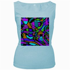 Abstract Sketch Art Squiggly Loops Multicolored Women s Baby Blue Tank Top