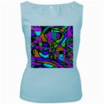 Abstract Sketch Art Squiggly Loops Multicolored Women s Baby Blue Tank Top Front