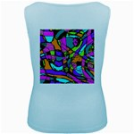 Abstract Sketch Art Squiggly Loops Multicolored Women s Baby Blue Tank Top Back