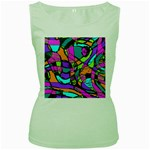 Abstract Sketch Art Squiggly Loops Multicolored Women s Green Tank Top Front