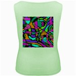 Abstract Sketch Art Squiggly Loops Multicolored Women s Green Tank Top Back