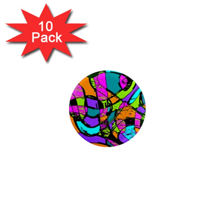 Abstract Sketch Art Squiggly Loops Multicolored 1  Mini Magnet (10 pack)