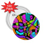Abstract Sketch Art Squiggly Loops Multicolored 2.25  Buttons (100 pack)  Front
